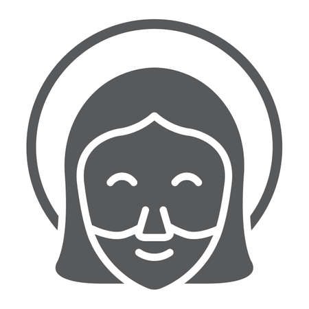 Jesus glyph icon, portrait and christ, god sign, vector graphics, a solid pattern on a white background. Illustration