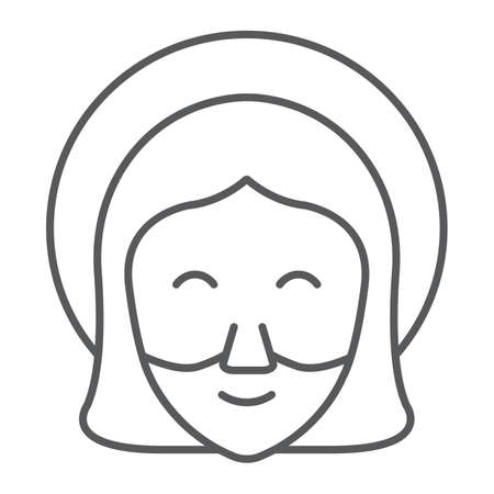 Jesus thin line icon, portrait and christ, god sign, vector graphics, a linear pattern on a white background.