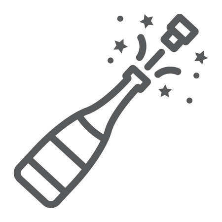 Champagne bottle pop line icon, alcohol and celebration, drink sign, vector graphics, a linear pattern on a white background, eps 10.
