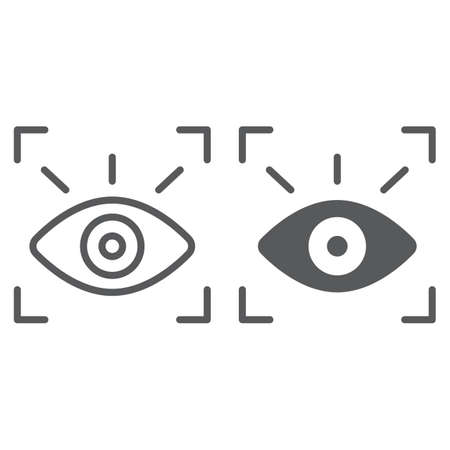 Retina scanner line and glyph icon, recognition and authentication, eye scan sign, vector graphics, a linear pattern on a white background. Vecteurs