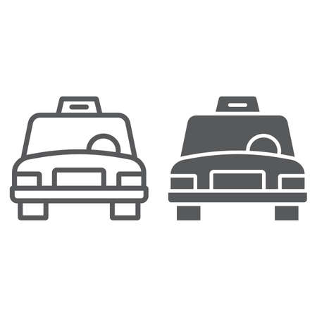 Taxi line and glyph icon, traffic and car, cab sign, vector graphics, a linear pattern on a white background.