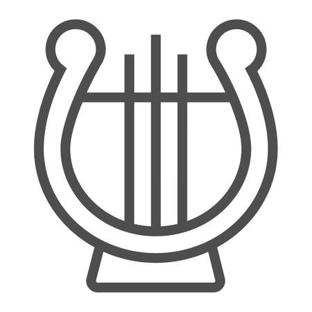 Lyre line icon, musical and ancient, harp sign, vector graphics, a linear pattern on a white background.