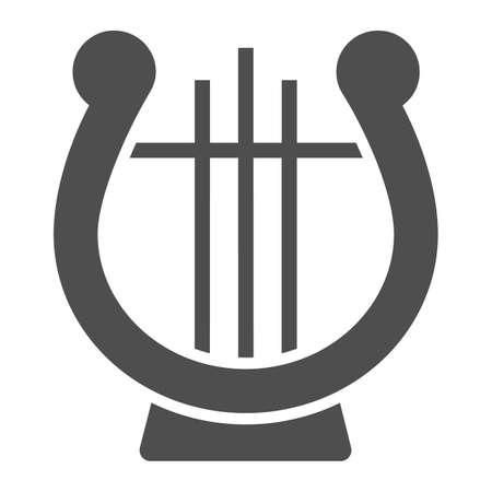 Lyre glyph icon, musical and ancient, harp sign, vector graphics, a solid pattern on a white background. Vectores