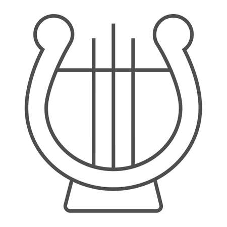 Lyre thin line icon, musical and ancient, harp sign, vector graphics, a linear pattern on a white background.