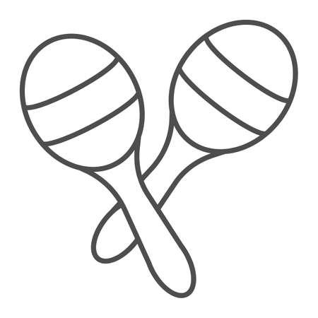 Icône de fine ligne de maracas, musique et mexicain, signe d'instrument, graphiques vectoriels, un dessin linéaire sur un fond blanc.