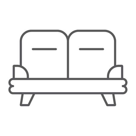 Sofa thin line icon, furniture and home, couch sign, vector graphics, a linear pattern on a white background.