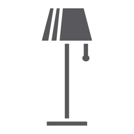 Floor lamp glyph icon, furniture and home, light sign, vector graphics, a solid pattern on a white background.