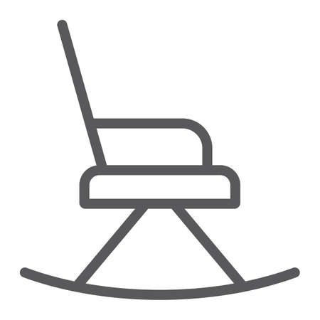 Rocking chair line icon, furniture and home, armchair sign, vector graphics, a linear pattern on a white background.