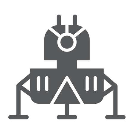 Icona del glifo del modulo lunare, scienza e astronomia, segno del modulo spaziale, grafica vettoriale, un modello solido su sfondo bianco. Vettoriali