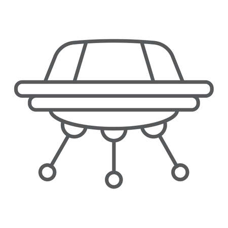 UFO thin line icon, space and spacecraft, spaceship sign, vector graphics, a linear pattern on a white background.