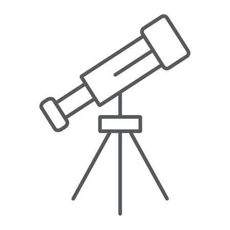 Telescope thin line icon, space and astronomy, magnify sign, vector graphics, a linear pattern on a white background, eps 10.