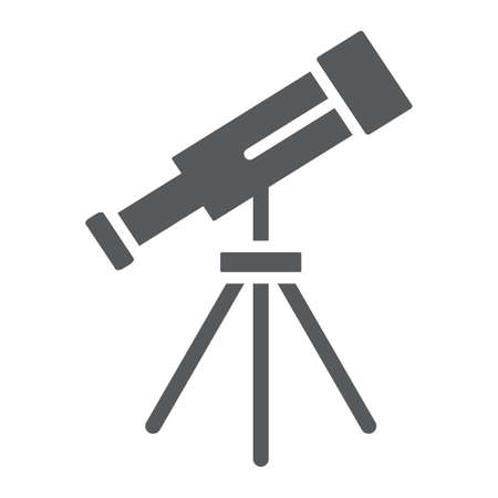 Telescope glyph icon, space and astronomy, magnify sign, vector graphics, a solid pattern on a white background.