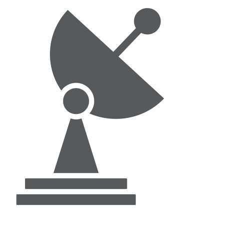 Radar glyph icon, tv and receiver, satellite dish sign, vector graphics, a solid pattern on a white background.