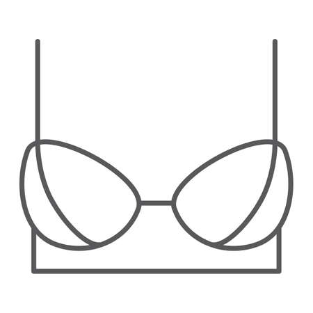 Bra thin line icon, female and underwear, lingerie sign, vector graphics, a linear pattern on a white background.