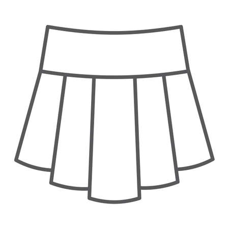 Skirt thin line icon, clothing and female, girl clothes sign, vector graphics, a linear pattern on a white background.