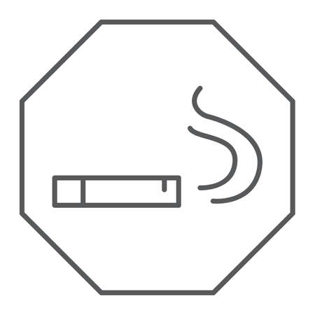 Smoking area thin line icon, smoke and cigar, cigarette sign, vector graphics, a linear pattern on a white background, eps 10.