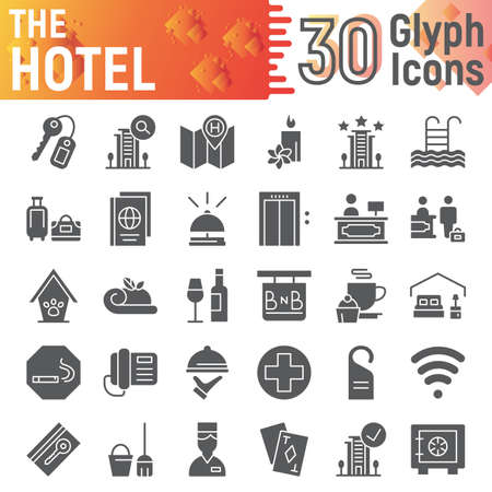 Hotel glyph icon set, service symbols collection, vector sketches,  illustrations, hostel signs solid pictograms package isolated on white background.