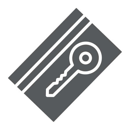 Key card glyph icon, hotel and access, electronic pass sign, vector graphics, a solid pattern on a white background, eps 10.