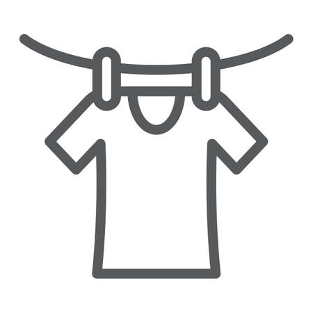 Drying line icon, laundry and dry, clothes sign, vector graphics, a linear pattern on a white background, eps 10.