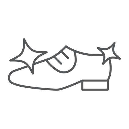Shoe cleaning thin line icon, clean and shoes, shining footwear sign, vector graphics, a linear pattern on a white background.