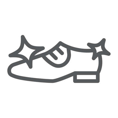 Shoe cleaning line icon, clean and shoes, shining footwear sign, vector graphics, a linear pattern on a white background.