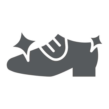 Shoe cleaning glyph icon, clean and shoes, shining footwear sign, vector graphics, a solid pattern on a white background.