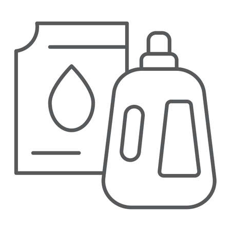 Detergent thin line icon, laundry and wash, jerrycan sign, vector graphics, a linear pattern on a white background.