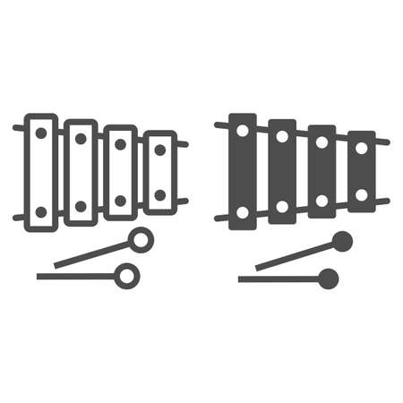 Xylophone line and glyph icon, musical and percussion, instrument sign, vector graphics, a linear pattern on a white background.