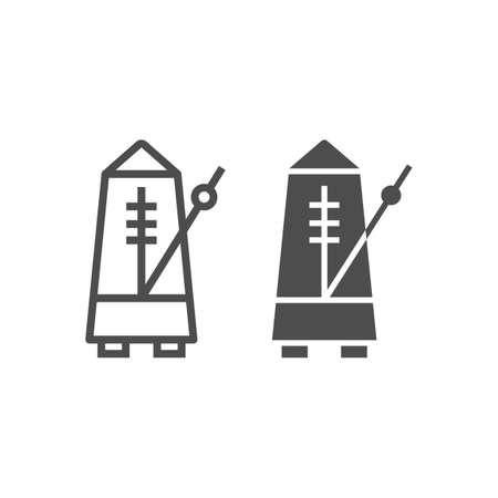 Metronomlinie und Glyphensymbol, Musik und Tempo, Ausrüstungszeichen, Vektorgrafiken, ein lineares Muster auf weißem Hintergrund, eps 10.