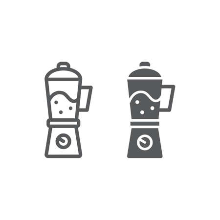 Blender line and glyph icon, home and household, appliance sign, vector graphics, a linear pattern on a white background, eps 10.