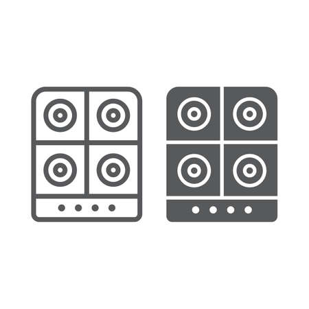 Stove line and glyph icon, kitchen and cooker, electric hot plate sign, vector graphics, a linear pattern on a white background, eps 10.