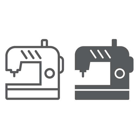 Sewing machine thin and glyph line icon, electric and textile, household sign, vector graphics, a linear pattern on a white background, eps 10.