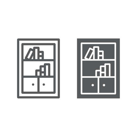 Bookshelf line and glyph icon, furniture and shelf, bookcase sign, vector graphics, a linear pattern on a white background, eps 10.