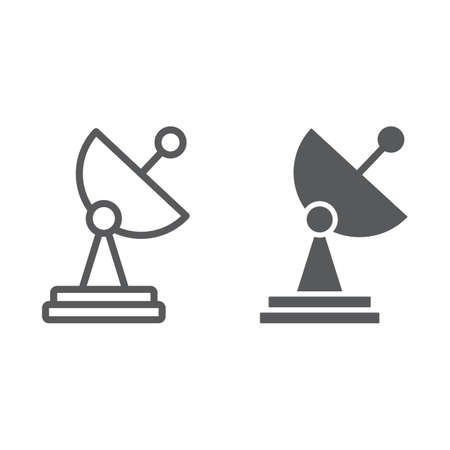 Radar line and glyph icon, tv and receiver, satellite dish sign, vector graphics, a linear pattern on a white background. Banque d'images - 112860356