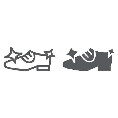 Shoe cleaning line and glyph icon, clean and shoes, shining footwear sign, vector graphics, a linear pattern on a white background.
