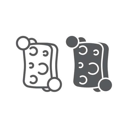 Schwammlinie und Glyphensymbol, reinigen und waschen, Waschlappenzeichen, Vektorgrafiken, ein lineares Muster auf weißem Hintergrund, eps 10. Vektorgrafik