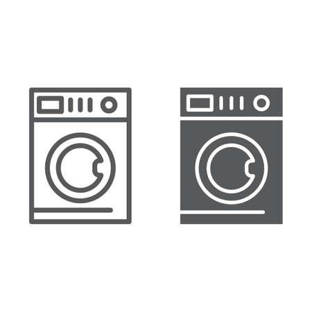 Autowaschlinie und Glyphensymbol, Wäsche und sauber, Waschmaschinenzeichen, Vektorgrafiken, ein lineares Muster auf weißem Hintergrund, eps 10. Vektorgrafik