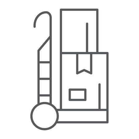 Trolley thin line icon, cargo and package, hand truck sign, vector graphics, a linear pattern on a white background, eps 10.