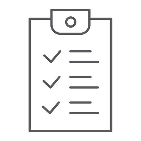Checklist thin line icon, document and form, report sign, vector graphics, a linear pattern on a white background, eps 10.