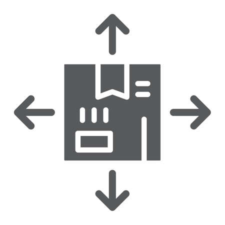Distribution glyph icon, logistics and package, box with arrows sign, vector graphics, a solid pattern on a white background, eps 10.