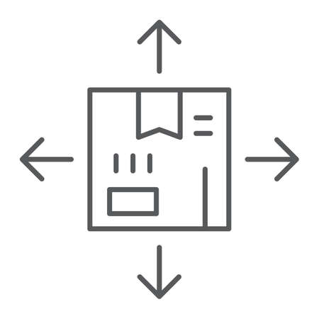 Distribution thin line icon, logistics and package, box with arrows sign, vector graphics, a linear pattern on a white background, eps 10.