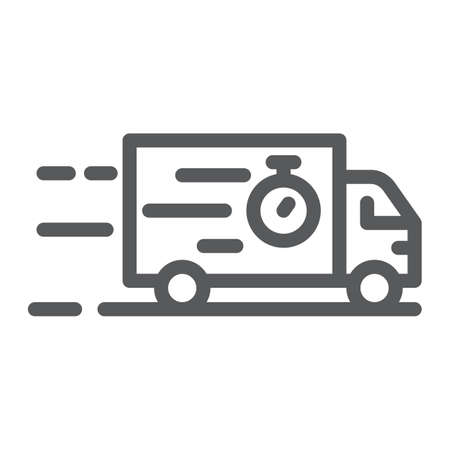 Truck line icon, delivery and shipping, lorry sign, vector graphics, a linear pattern on a white background, eps 10.