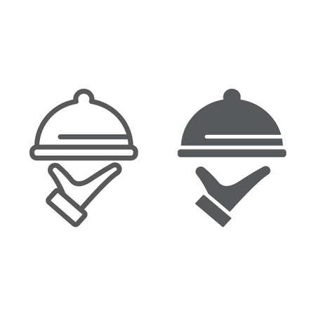 Ligne de service alimentaire et icône de glyphe, hôtel et nourriture, signe de cloche de restaurant, graphiques vectoriels, un dessin linéaire sur un fond blanc, eps 10. Vecteurs