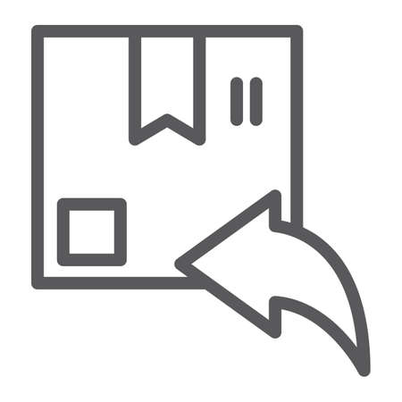 Return line icon, parcel and delivery, package sign, vector graphics, a linear pattern on a white background, eps 10.