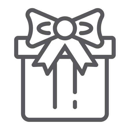 Gift box line icon, package and surprise, present sign, vector graphics, a linear pattern on a white background, eps 10.