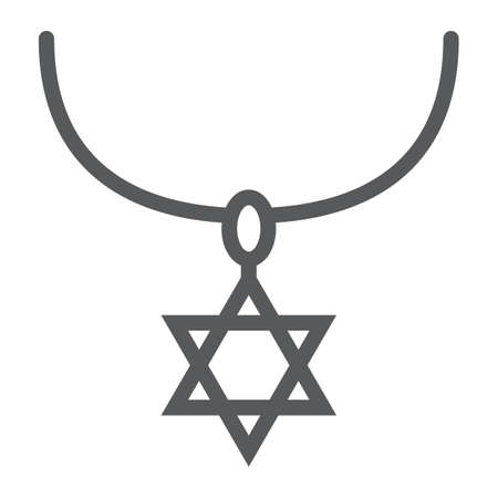 Star of david necklace line icon, jewellery and accessory, chain with jewish star sign, vector graphics, a linear pattern on a white background.