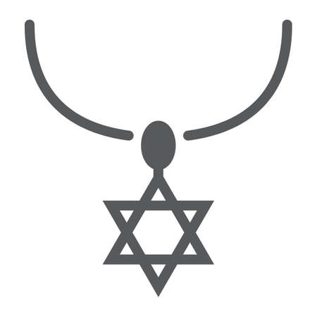 Star of david necklace glyph icon, jewellery and accessory, chain with jewish star sign, vector graphics, a solid pattern on a white background.