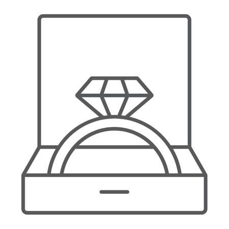 Ehering in dünner Linie Symbol, Schmuck und Zubehör, Geschenkbox mit Ringzeichen, Vektorgrafiken, ein lineares Muster auf weißem Hintergrund, eps 10. Vektorgrafik