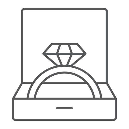 Wedding ring in box thin line icon, jewellery and accessory, gift box with ring sign, vector graphics, a linear pattern on a white background, eps 10.