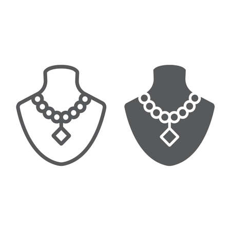 Dummy with necklace line and glyph icon, jewellery and accessory, mannequin with jewelry sign, vector graphics, a linear pattern on a white background.